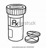 Pill Bottle Medicine Cartoon Sketch Vector Illustration Coloring Drawn Template sketch template