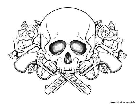 skull coloring book print skull with guns flowers coloring pages coloring