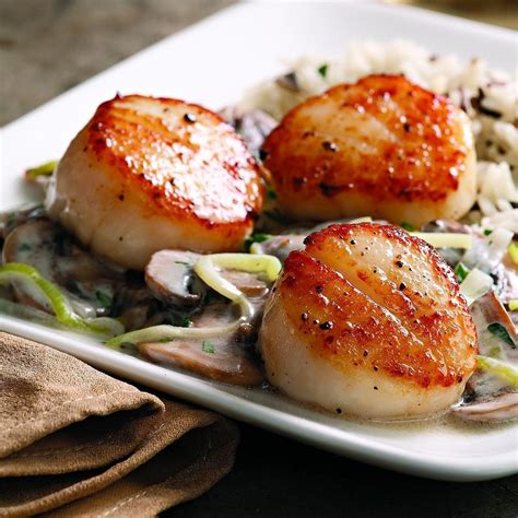 seared scallops seared scallops with brandied leeks mushrooms recipe eatingwell