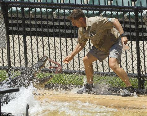 steve irwin zoo crocodile son giant robert keeper dad animal uniform jaws gauge around help
