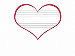 free heart template with lines and red border With heart shaped writing template