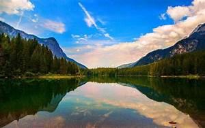 Nature, Landscape, Lake, Reflection, Mountain, Clouds
