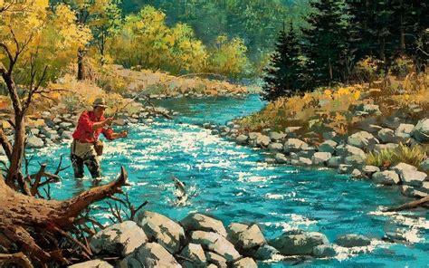 fishing stream wallpaper wallpapersafari
