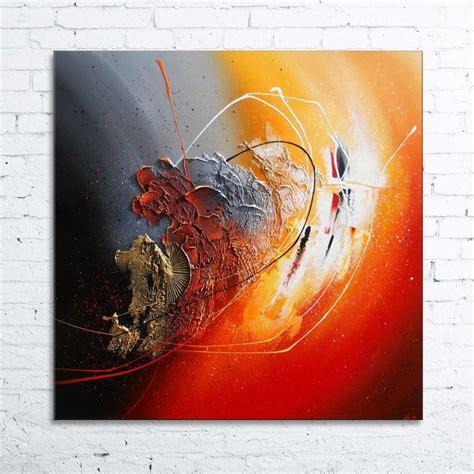 peinture ankaa tableau abstrait contemporain toile acrylique en relief noir gris orange