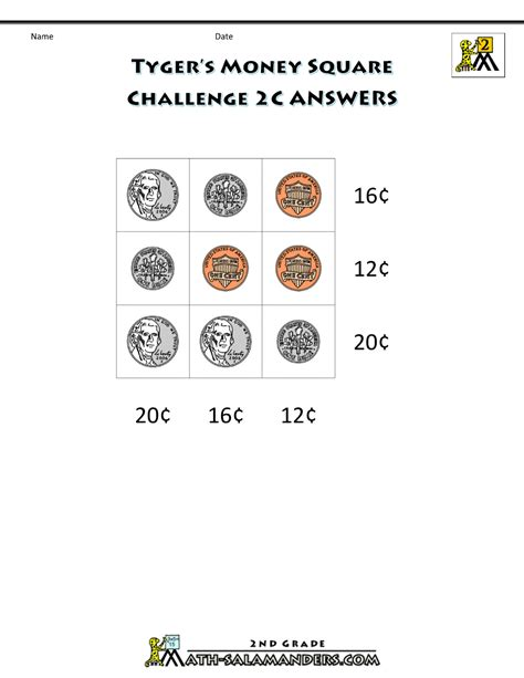 printable money worksheets money challenges