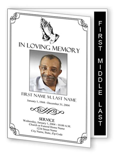 praying hands funeral program template graduated fold