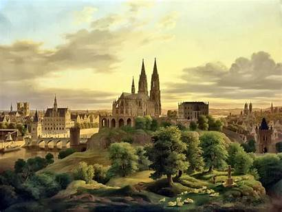 Medieval Town Clipart Landscape Painting Ages Middle