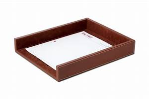 a3201 rustic brown leather letter tray With brown leather letter tray
