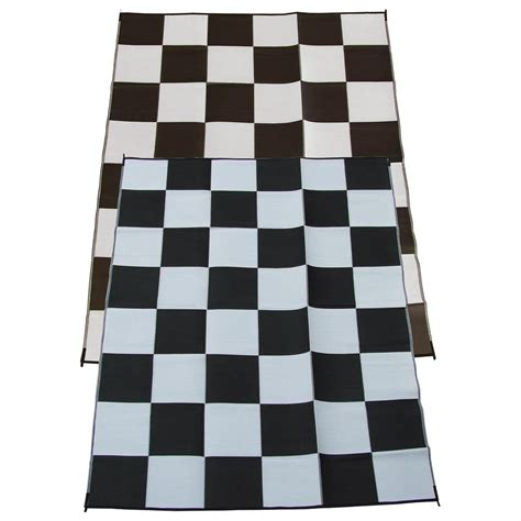 rv patio mats 9x18 9x18 racing checks indoor outdoor reversible rv mat