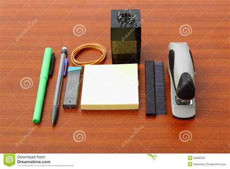 Office Desk Tools by Office Desk And Tools A Brown Table Stock Photo