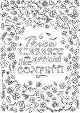 Coloring Peninsula Confetti Designlooter Kindness Grown Ups Throw Blank Template Printable Flower Around sketch template