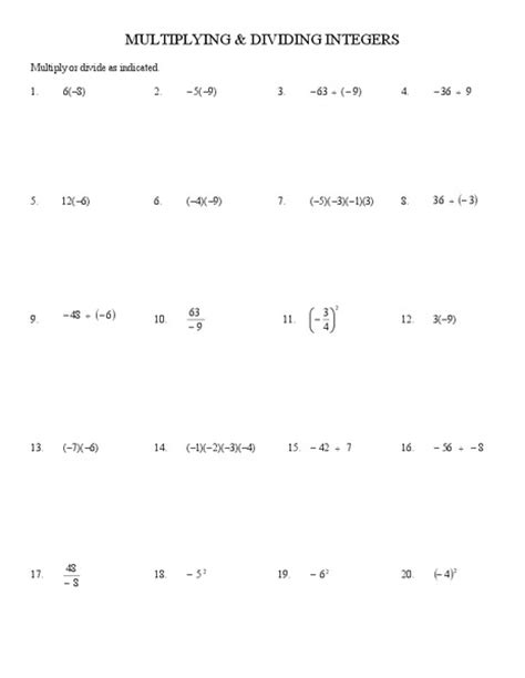division worksheets 187 integers multiplication and division