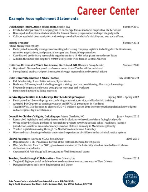 Government Resume Guidelines by Exle Accomplishment Statements
