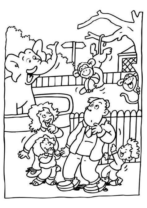 dibujo  colorear visita al zoologico dibujos