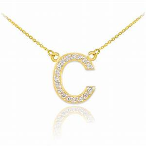 14k yellow gold letter quotcquot initial 17 diamonds pendant With gold letter chain
