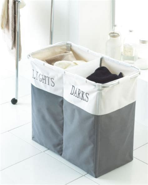 Folding Double Lights & Darks Laundry Sorter Sections
