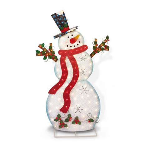 pre lit lighted 5 outdoor twinkle metal snowman yard