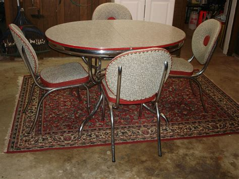 vintage mid century modern retro chrome dinette set table chairs red  grey ebay