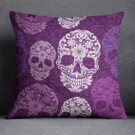 Purple Sugar Skull on Scroll Design Bedding   Ink and Rags