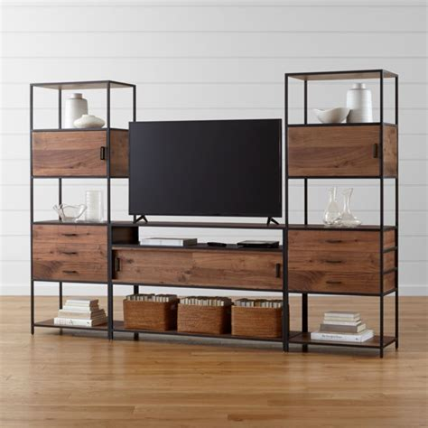 knox media console   tall storage bookcases crate