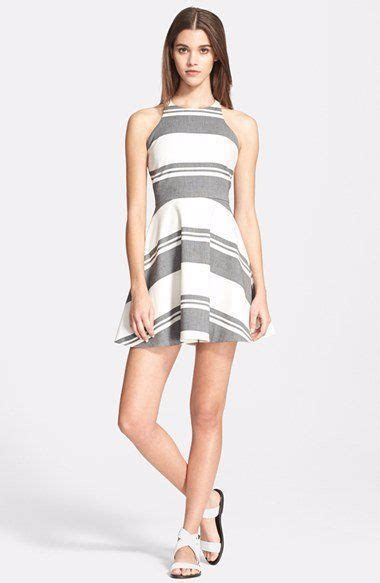 elizabeth  james fit flare black striped