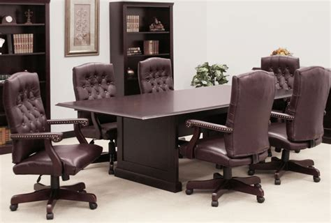 conference table and chairs set with traditional mahogany