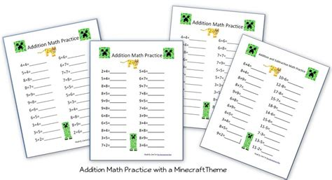 Minecraft Themed Addition Pages  Homeschool Den