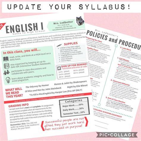 my new syllabus gt created canva high school high school syllabus high school