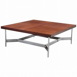 Large square coffee table in teak and steel for sale at for Large square coffee tables for sale