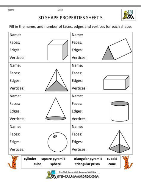 printable geometry worksheets  grade geometry