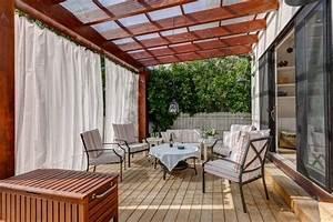 Rideaux exterieur sur la terrasse pour plus d39intimite et for Rideaux pour terrasse exterieur 8 pare vue separatif