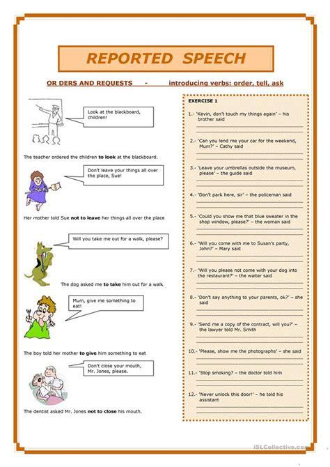 esl reported speech worksheets
