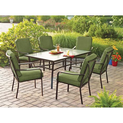 Patio Furniture Sets Walmart by Mainstays Crossman 7 Patio Dining Set Green Seats