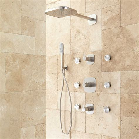brushed nickel cabinet arin thermostatic shower system with shower 6
