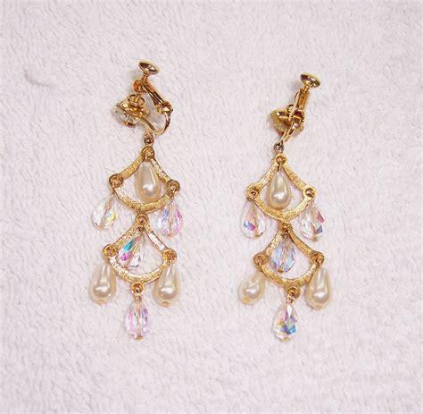 a resale 1950s chandelier clip on earrings