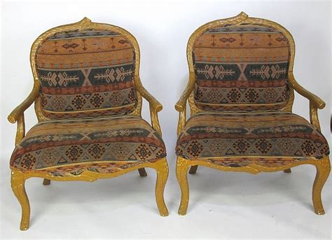 Pair Southwest Patterned Upholstered Armchairs