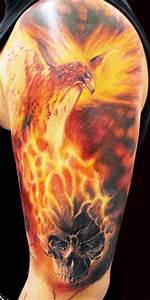 Flaming Phoenix and Skull Tattoo - PairodiceTattoos.com