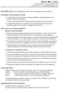 organizational change management resume exles functional resume sle project management
