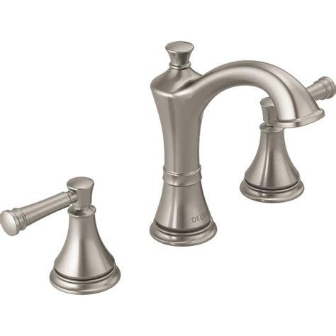 lowes bathroom sink faucets brushed nickel shop delta valdosta spotshield brushed nickel 2 handle