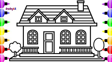 Coloring Home by How To Draw House For And House Coloring Pages For