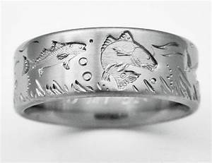 desoto 4 titanium ring with fish titanium wedding rings With mens fishing wedding rings