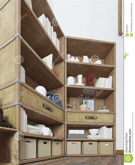 Shelving In Bedroom Loft Design With A Tv On The Wall