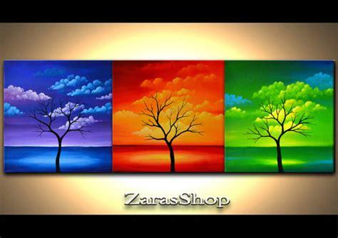 zara siege social ensemble de 3 arbre abstrait peinture bleu vert par