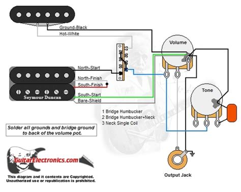 wiring diagram 1 humbucker 2 single coils 1 humbucker 1 single coil 3 way lever switch 1 volume 1 tone 00 guitarelectronics