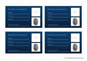 Detektiv zubehor und deko selbst basteln ausweis vorlage for Ausweis selber machen kostenlos