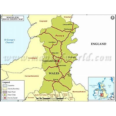 Map of Powys County Wales (UK)