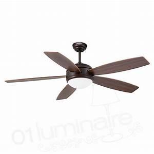 Ventilateur Plafond Bois : ventilateur plafond lumiere vanu marron 27 pales bois ~ Premium-room.com Idées de Décoration