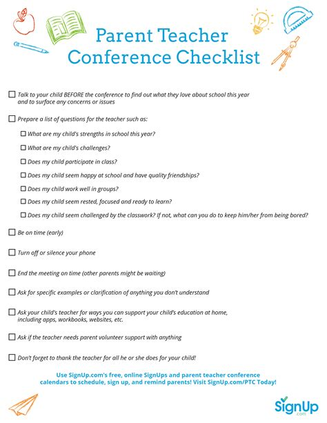 questions to ask at parent teacher conference preschool printable checklist for parent conferences 982
