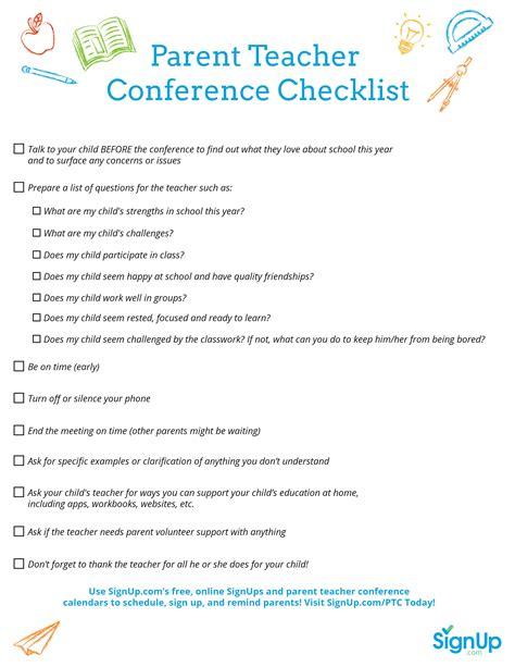 printable checklist for parent conferences 954 | SignUp PT Conference Checklist