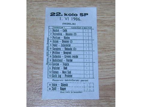 Listic 22 Kola Sportske Prognoze I.VI.1986. - Kupindo.com ...